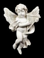 Wall Plaque Angels - Cherubs with Harp - Set of 2