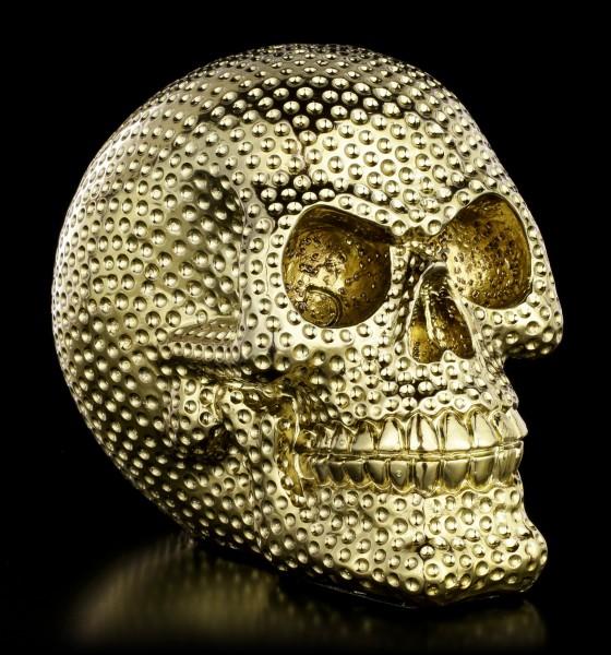 Totenkopf mit Dimpels - goldfarben