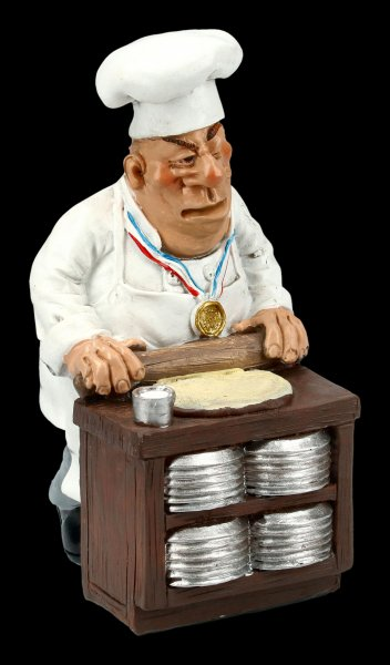 Funny Jobs Figurine - Pizza Maker rolls out Pizza Dough