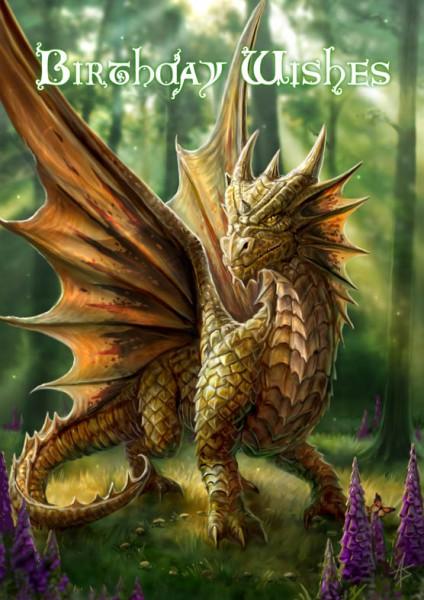 Fantasy Birthday Card - Friendly Dragon