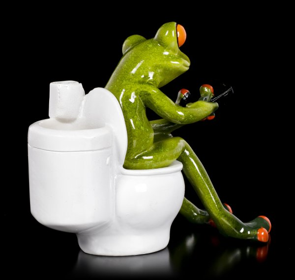 Lustige Frosch Figur auf Toilette