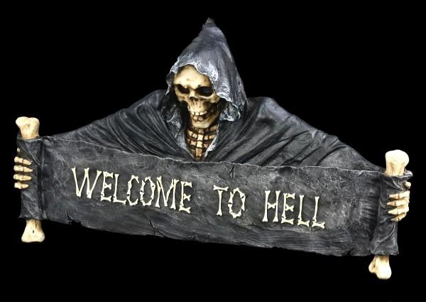 Türschild Skelett Reaper - Welcome to Hell