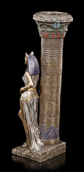 Egyptian Tealight Holder - Bastet on Pillar