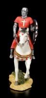 Kleine Ritter Figur auf Pferd mit Löwenschild