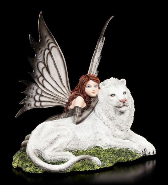 Elfen Figur - Carressa mit weißem Löwen