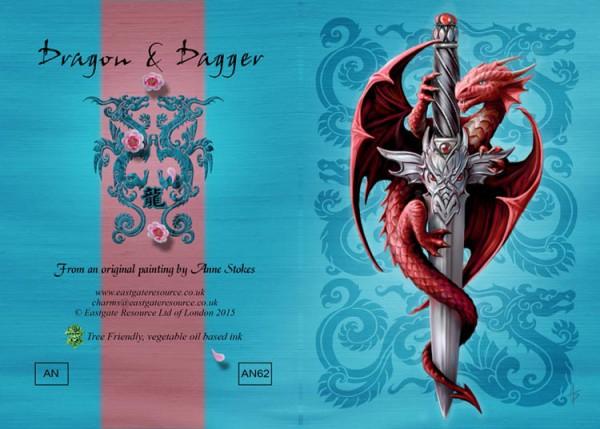 Fantasy Grußkarte Drache - Dragon & Dagger