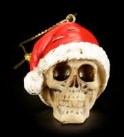 Christbaumkugeln - 6er Set Totenköpfe mit Weihnachtsmütze