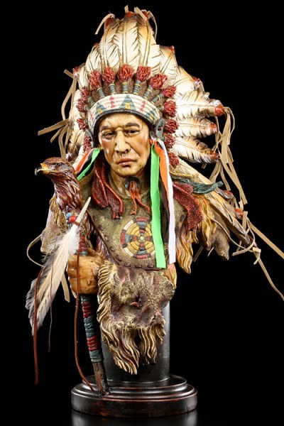 Indianer Figur - Große Häuptling Büste mit Adler Zepter