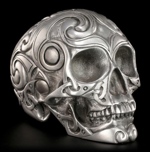 Skull - Tribal silver colored medium