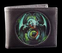 Geldbörse schwarz mit 3D Drache - Jade Emerald Dragon
