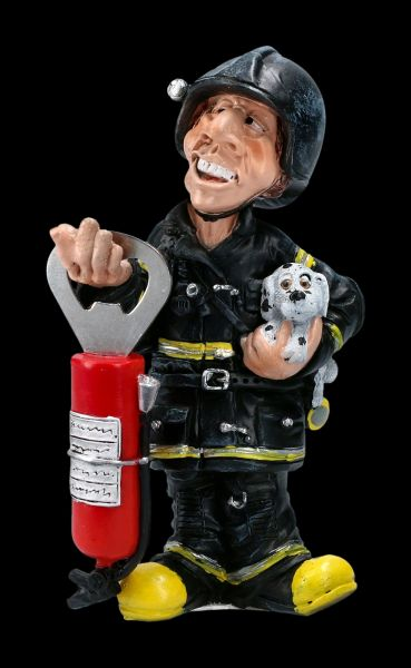 Funny Job Figurine - Firefighter with Bottle Opener