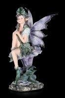 Purple Fairy Figurine - Alari sitting on Blossom