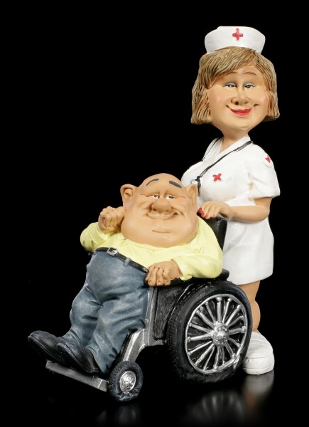 Funny Job Figurine - Nurse with Wheelchair User