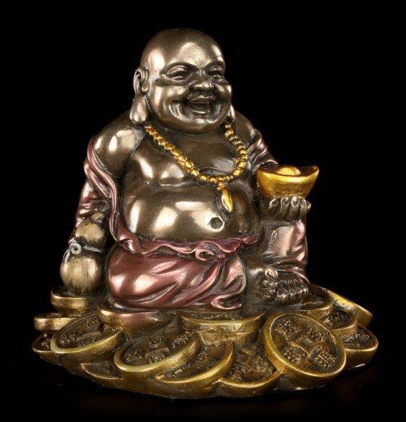 Happy Buddha Figur - Sitzend auf Goldhaufen