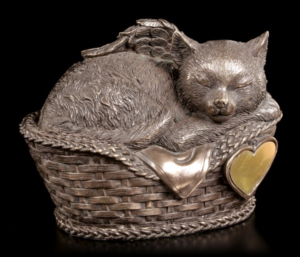 Animal Urn - Cat Angel in Basket with Gravure Plate