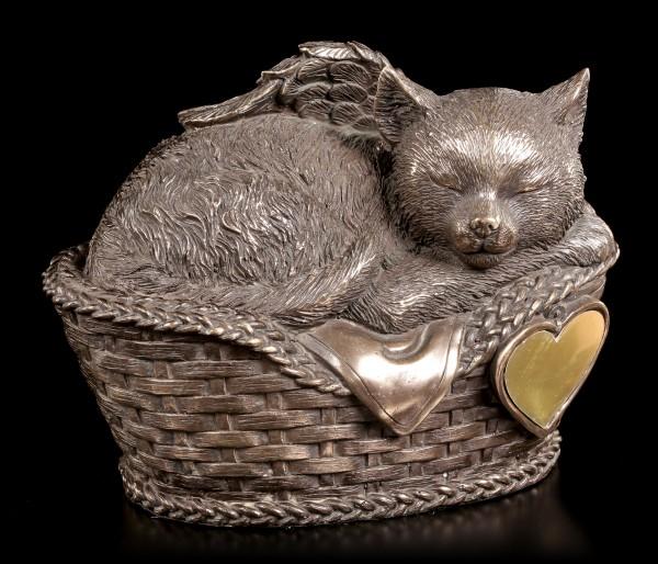 Tier Urne - Katzen-Engel im Korb mit Gravurplatte