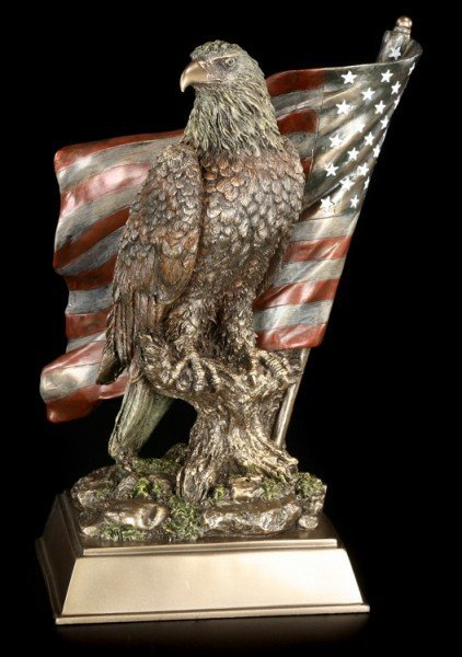 Eagle Figurine Sitting in Front of US flag