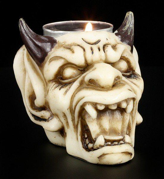 Teelichthalter - Teufel Totenkopf