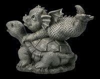 Gartenfigur - Drache mit Schildkröte
