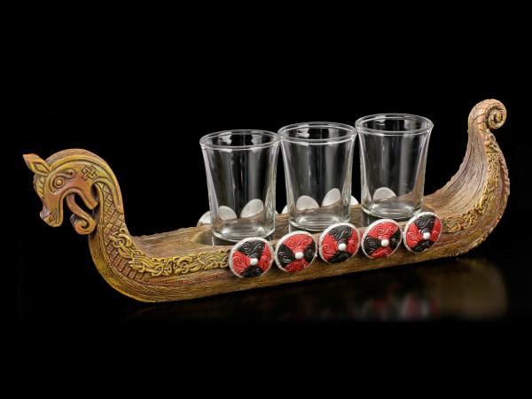 Viking Ship with Shot Glasses