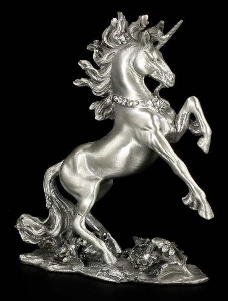 Pewter Unicorn Figurine with Gemstones
