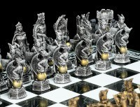 Dragon and Knight Chess on Castle Tower
