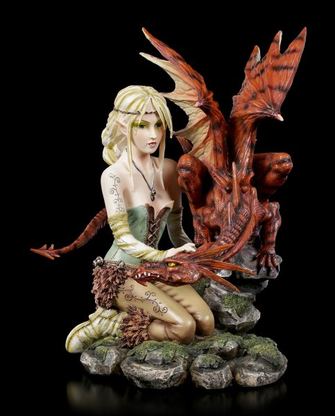 Fairy Land - Fairy Figurine with large Dragon