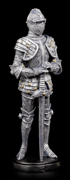 Ritter Figur mit Schwert zum Boden gerichtet