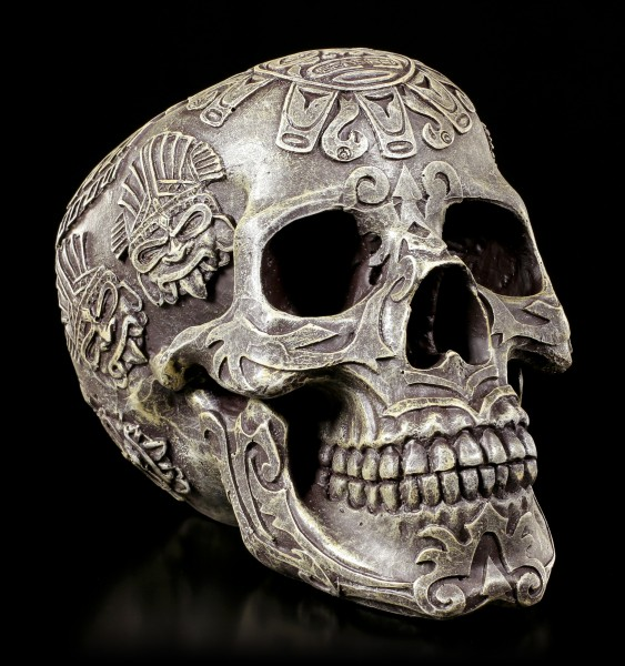 Azteken Totenkopf - steingrau