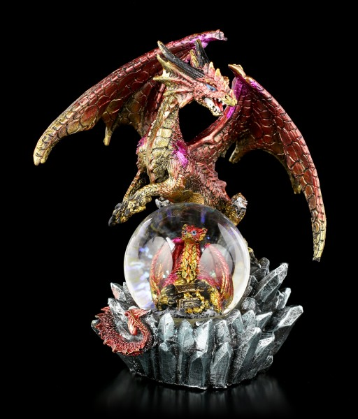 Dragon Figure with Snowglobe - Ruby Oracle