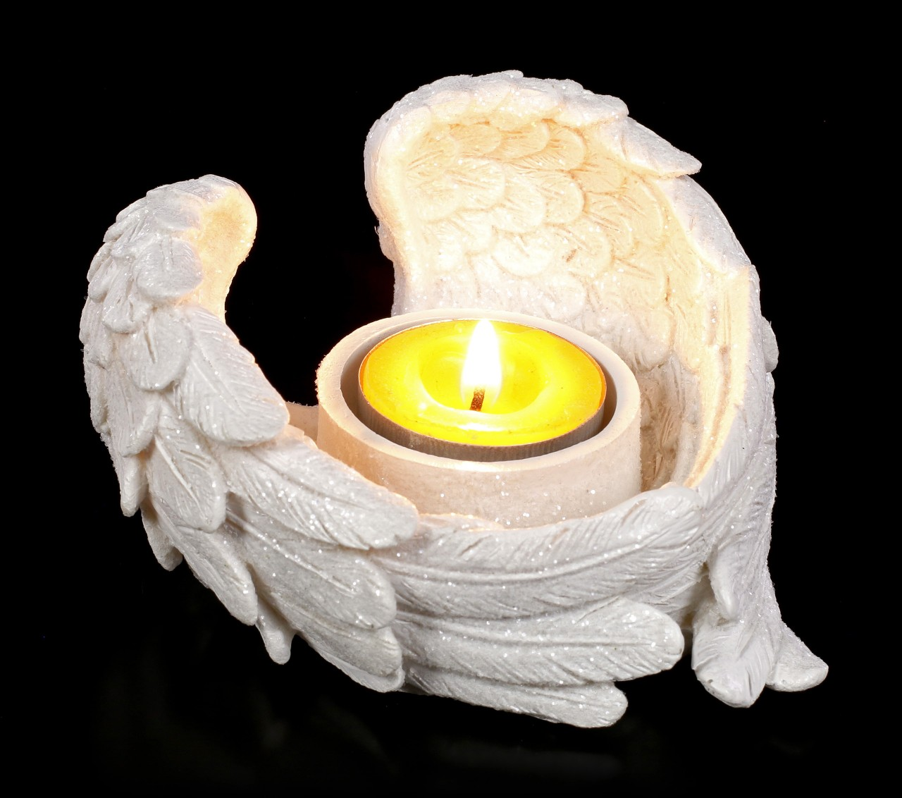 Tealight Holder - Angel Wings with Glitter