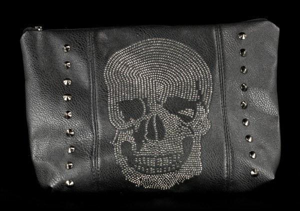 Kulturtasche - Diamantener Totenkopf mit Griff