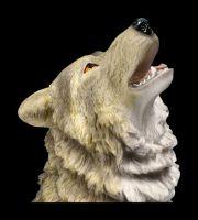 Wolf Figur groß - Grau heulend
