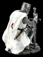 Kniender Templer Figur mit Schwert