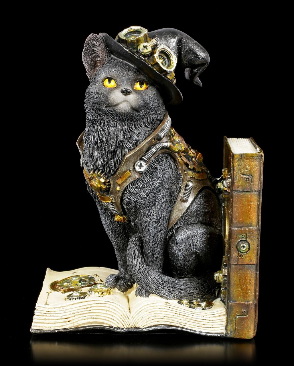 Buchstütze Steampunk Katze - Purring Pioneer