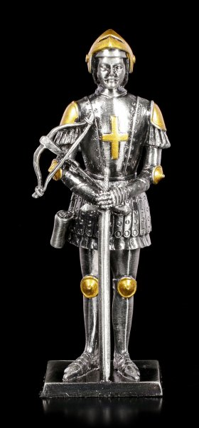 Pewter Knight Figurine with Sword and Crossbow