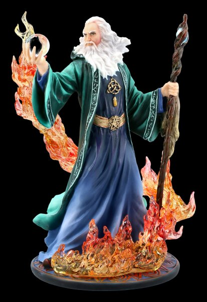 Wizard Figurine - Merlin charms Fire