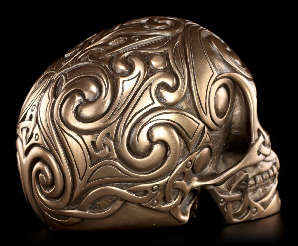 Totenkopf - Tribal Skull bronziert mittel