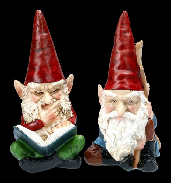 Gnome Figurines Set with Book and Stick