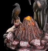 Nacht Elfen Figur - Mundia mit Raben am Lagerfeuer LED