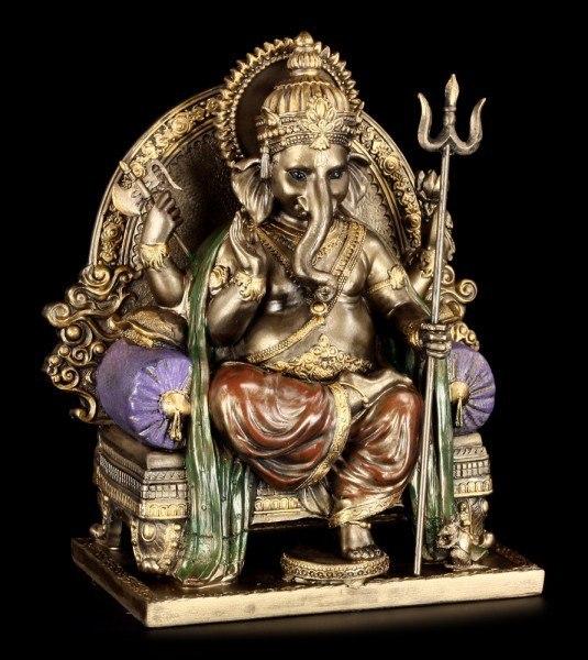 Ganesha sitzt auf Thron mit Ratte