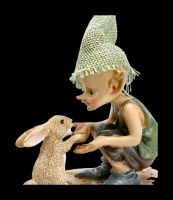 Pixie Goblin Figurine with Rabbit - Give Paw