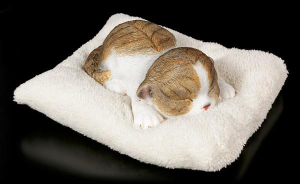 Katzen Figur schlafend auf weißer Decke