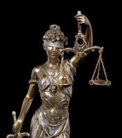 Justitia Figur - Göttin der Gerechtigkeit - bronziert