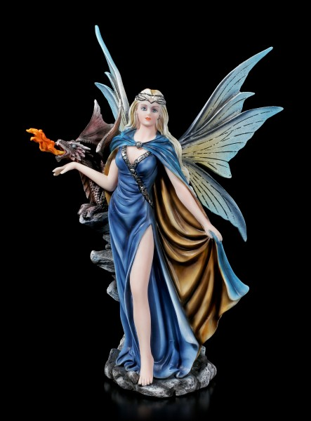 Fairy Figurine with Dragon - Guardian of the Fire