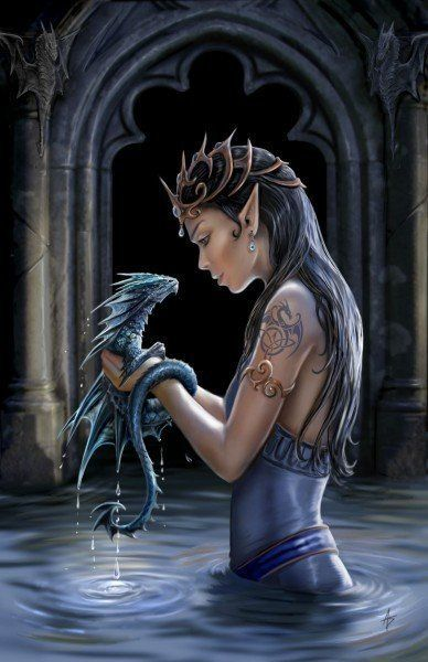 Fantasy Grußkarte Drache - Water Dragon