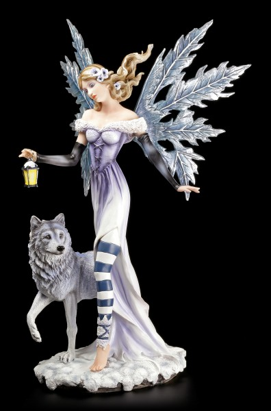 Winter Fairy Figurine with Wolf