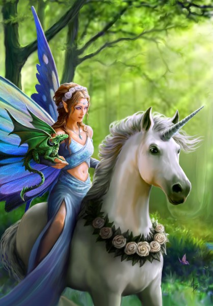 Preview: Greeting Card Unicorn & Fairy - Realm Of Enchantment