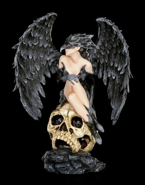 Dark Angel Figur - Rabenkönigin auf Totenkopf