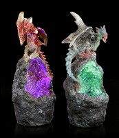 Dragon on Stone with LED - Set of 2